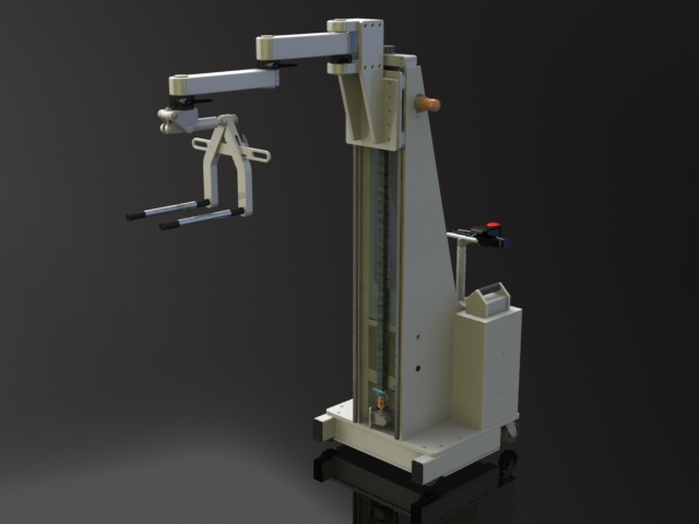 Counterbalance Power Drive Lift with Articulated Arm and Prong Set for Spools and Reels