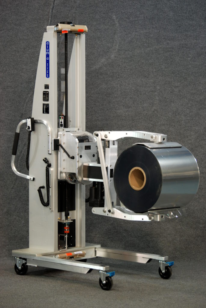 Lift with Powered Clamp for Loading Film Rolls