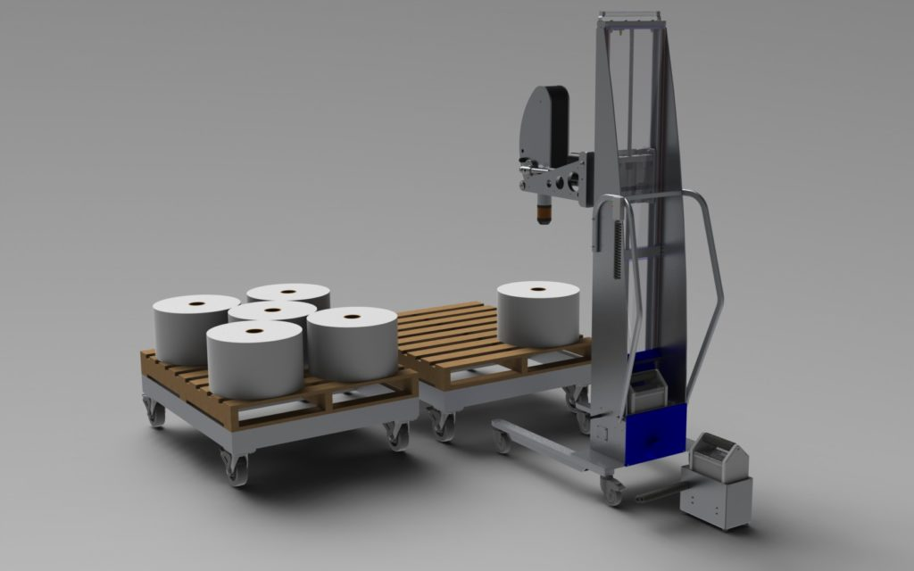Expanding Mandrel Lift for Rolls with Alum a Dollys and Quick-Exchange Battery System
