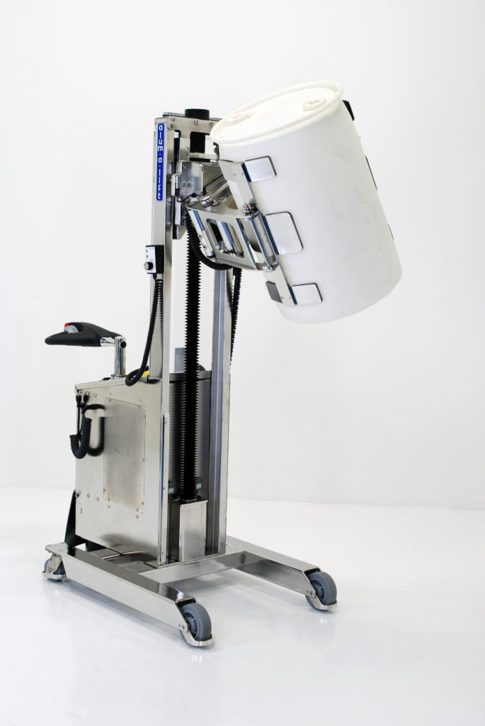 Stainless Steel Mobile Electric Drum Clamping Lift